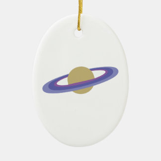 Planet Saturn Double-Sided Oval Ceramic Christmas Ornament