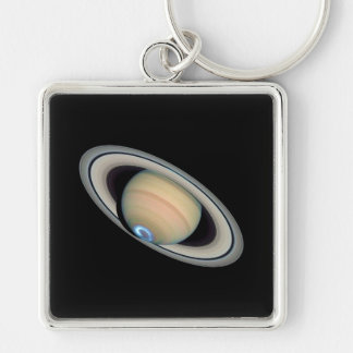 PLANET SATURN (solar system) ~ Silver-Colored Square Keychain