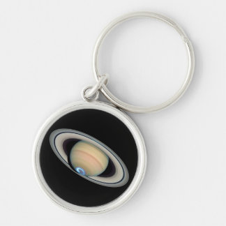 PLANET SATURN (solar system) ~ Silver-Colored Round Keychain