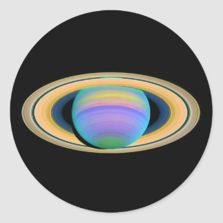 Planet Saturn's Rings in Ultraviolet Light Classic Round Sticker