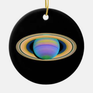 Planet Saturn's Rings in Ultraviolet Light Double-Sided Ceramic Round Christmas Ornament