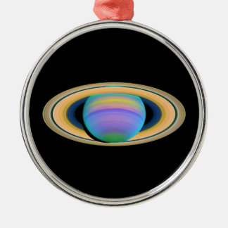 Planet Saturn's Rings in Ultraviolet Light Round Metal Christmas Ornament