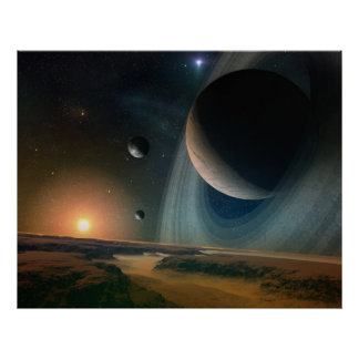 Planet scape - space art print poster