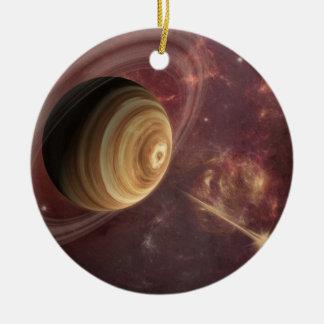 Planet, stars and Sun in Galaxy Fantasy Art Ceramic Ornament