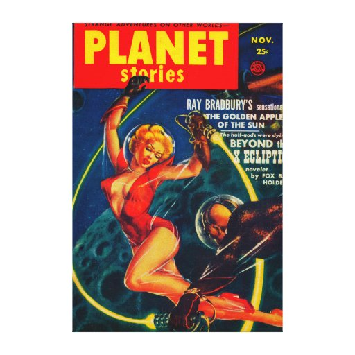 Planet Stories Magazine Cover 2 Stretched Canvas Print