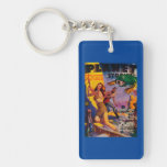 Planet Stories Magazine Cover 5 Double-Sided Rectangular Acrylic Keychain