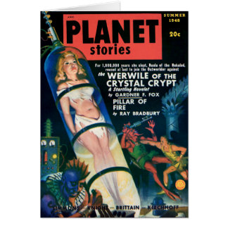 PLANET STORIES-VINTAGE PULP MAGAZINE COVER GREETING CARD