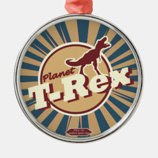 Planet T-Rex Metal Ornament