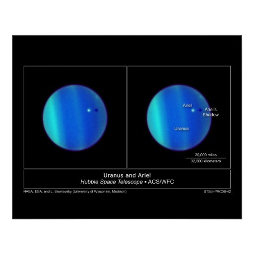Planet Uranus and it's Moon Ariel from the Hubble Poster