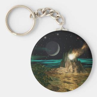 Planet Volcano World Basic Round Button Keychain
