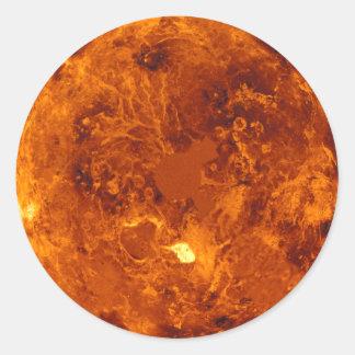 Planeta anaranjado pegatina redonda