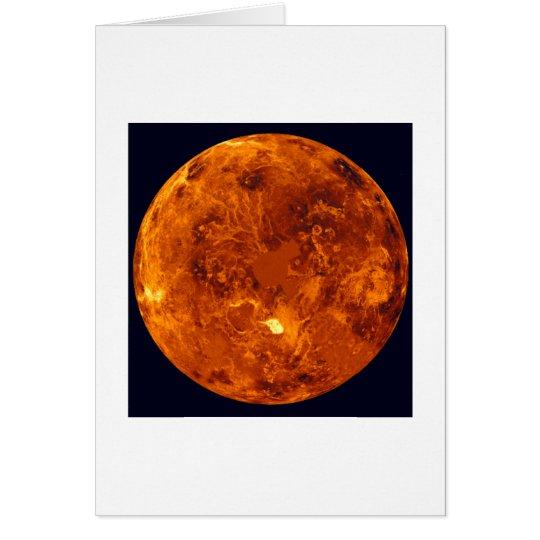 Planeta anaranjado tarjeta de felicitación
