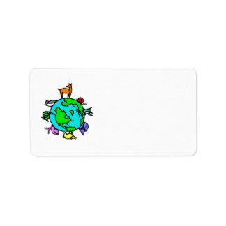 Planeta animal etiqueta de dirección