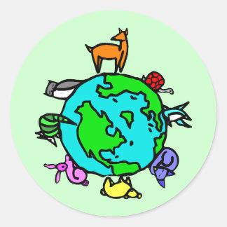 Planeta animal etiquetas redondas