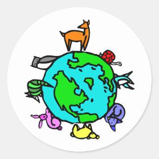 Planeta animal pegatina redonda