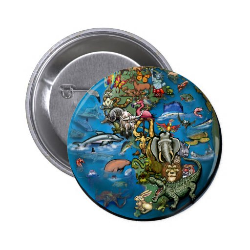 Planeta animal pin redondo 5 cm