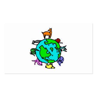 Planeta animal tarjetas de visita