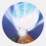 Planeta azul de la pirámide n con la pintura a etiquetas redondas