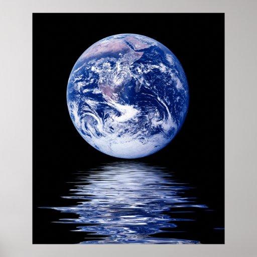 Planeta azul del agua póster