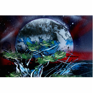 Planeta blanco y azul con la parte posterior roja