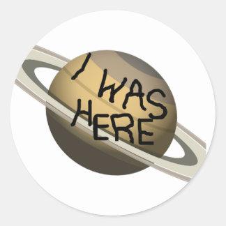 ¡Planeta de encargo de Saturn de la diversión - Pegatina Redonda