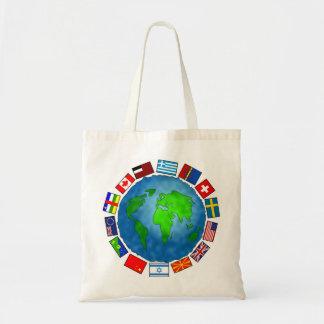 Planeta de la bandera bolsa tela barata