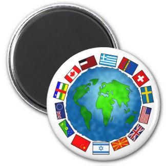 Planeta de la bandera imanes de nevera