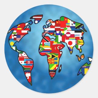 Planeta de la bandera etiqueta redonda