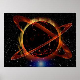 Planeta de la lava con las estrellas posters