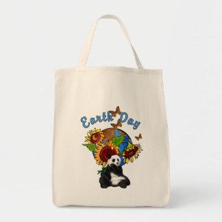 Planeta de la panda del Día de la Tierra Bolsa Lienzo