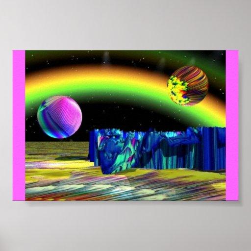 Planeta de la roca azul póster