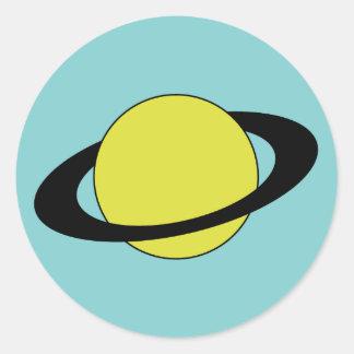 Planeta de Saturn con el icono del anillo Pegatina Redonda