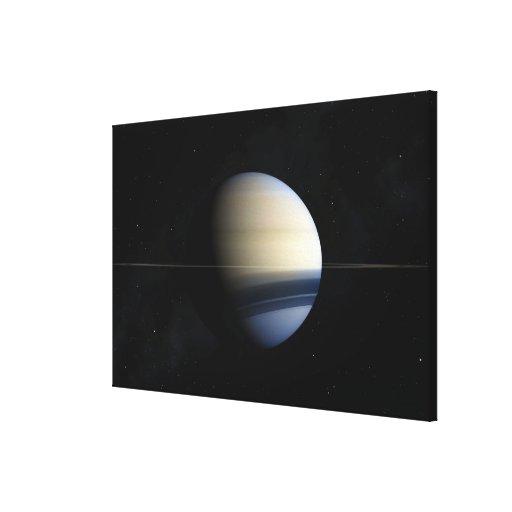 Planeta de Saturn en la Sistema Solar, primer 2 Impresiones En Lona Estiradas