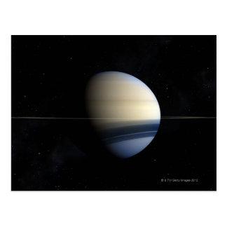 Planeta de Saturn en la Sistema Solar, primer 2 Postal