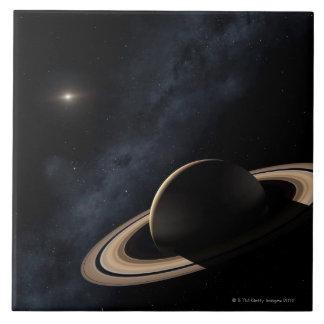 Planeta de Saturn en la Sistema Solar, primer Tejas