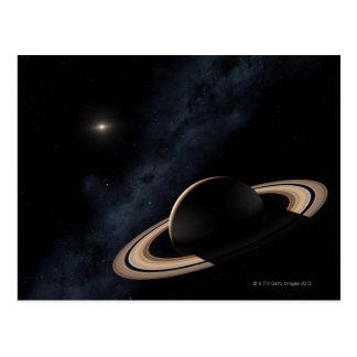 Planeta de Saturn en la Sistema Solar, primer Postal