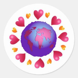 Planeta del amor pegatina redonda