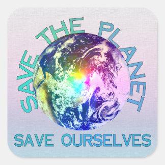 Planeta del arco iris pegatinas cuadradas personalizadas