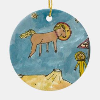 Planeta del caballo del espacio ornamentos de navidad