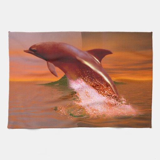 Planeta del delfín toalla de cocina