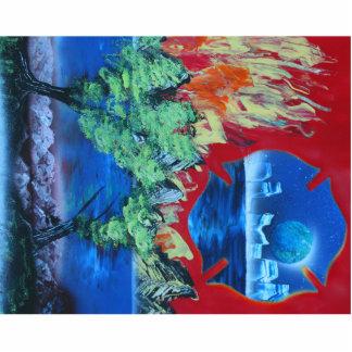 planeta del escudo del cielo de la llama del árbol