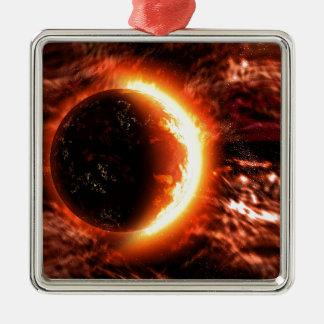 Planeta en el fuego - imagen caliente adorno navideño cuadrado de metal