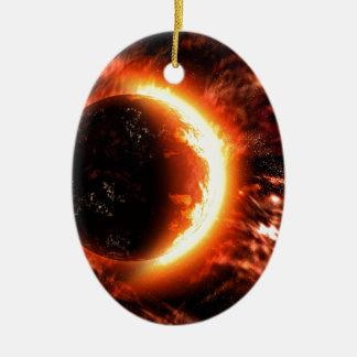 Planeta en el fuego - imagen caliente adorno navideño ovalado de cerámica