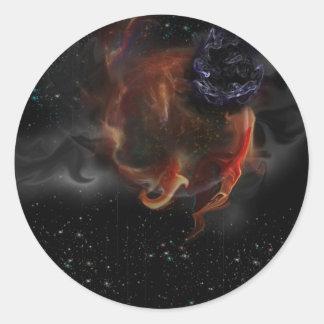 Planeta en ruina pegatina redonda