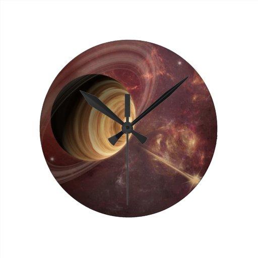 Planeta, estrellas y Sun en arte de la fantasía de Reloj De Pared