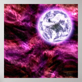 Planeta extranjero de la galaxia de Digitaces en n Póster