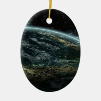 Planeta extranjero adorno ovalado de cerámica