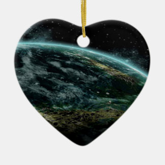 Planeta extranjero adorno de cerámica en forma de corazón