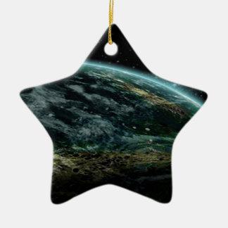 Planeta extranjero adorno de cerámica en forma de estrella