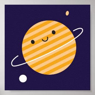 Planeta feliz en espacio póster